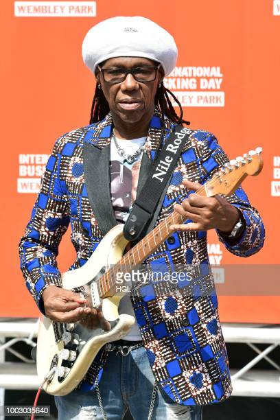 Nile Rodgers seen busking at the launch of International Busking Day in London on July 21 2018 in London England