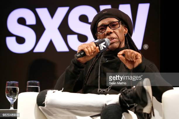 Nile Rodgers speaks onstage at Music Business 101 A QA with Legendary Music Icon Nile Rodgers during SXSW at Austin Convention Center on March 14...
