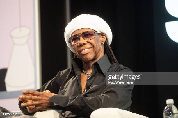 Nile Rodgers speaks onstage during the Featured Session Nile Rodgers Merck Mercuriadis 2019 SXSW Conference and Festivals at Austin Convention Center...