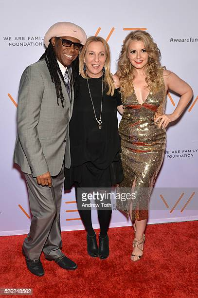 Nile Rodgers Susan Rockefeller and Nancy Hunt attend the We Are Family Foundation 2016 Celebration Gala on April 29 2016 in New York New York