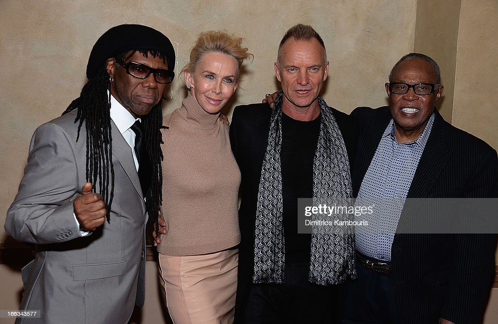 Nile Rodgers, Trudie Styler, Sting and Sam Moore attend the 0213 We Are Family Honors Gala at Manhattan Center Grand Ballroom on April 11, 2013 in New York City.