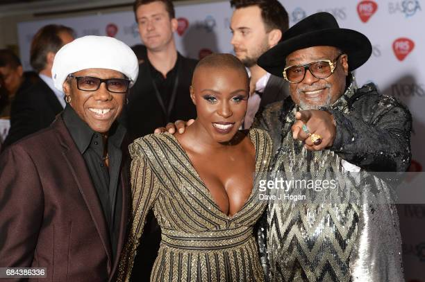 Nile Rogers Laura Mvula and George Clinton attend the Ivor Novello Awards at Grosvenor House on May 18 2017 in London England