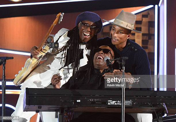 Nile Rogers Stevie Wonder and Pharrell Williams perform onstage during the 56th GRAMMY Awards at Staples Center on January 26 2014 in Los Angeles...