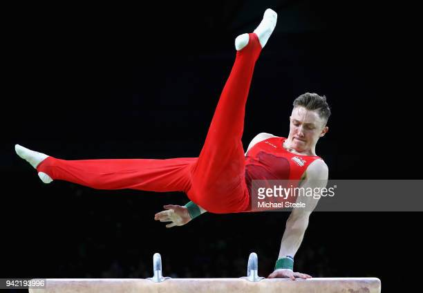 Nile Wilson of England competes on the pommel horse in the Men's Team Final and Individual Qualification during the Artistic Gymnastics on day one of...