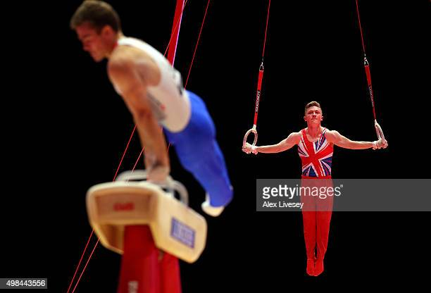 Nile Wilson of Great Britain competes in the Rings during day three of the 2015 World Artistic Gymnastics Championships at The SSE Hydro on October...