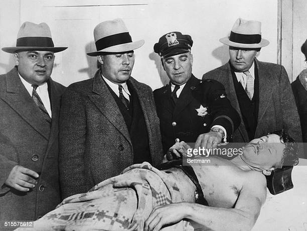 George Baby Face Nelson a member of the Dillenger gang on an undertaker's slab after his assassination Niles Center Photgraphed 1934