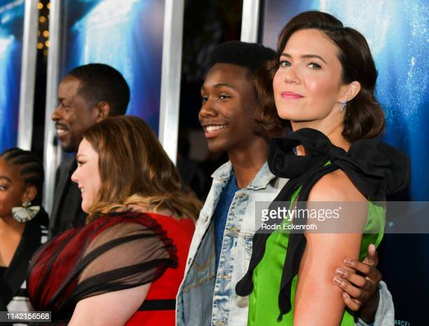 Niles Fitch and Mandy Moore attend the premiere of 20th Century Fox's Breakthrough at Westwood Regency Theater on April 11 2019 in Los Angeles...