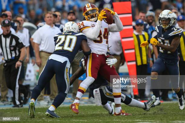 Niles Paul of the Washington Redskins catches the ball during a NFL game between the Washington Redskins and the Los Angeles Chargers on December 10...