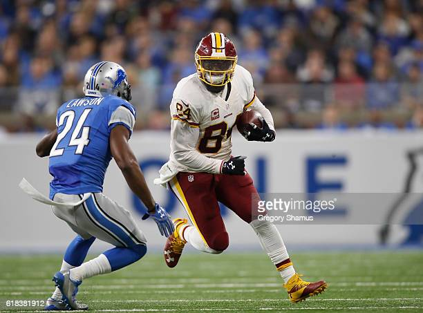 Niles Paul of the Washington Redskins looks for yards while playing the Detroit Lions at Ford Field on October 23 2016 in Detroit Michigan Detroit...