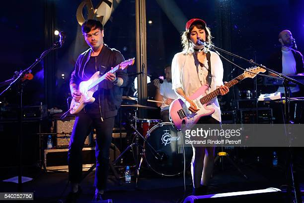 Nili Hadida and Benjamin Cotto from Music Group 'Lilly Wood and the Prick' perform during YSL Beauty launches the new Fragrance 'Mon Paris' at Cafe...