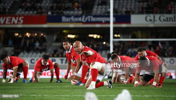 Nili Latu of Tonga leads the Tongan pre match challenge during the International Test Match between Tonga and Wales at Eden Park on June 16 2017 in...