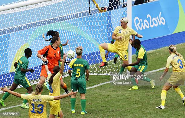 Nilla Fischer of Sweden scores the winning goal during a game against South Africa in Rio de Janeiro on Aug 3 the first onfield action of the 2016...