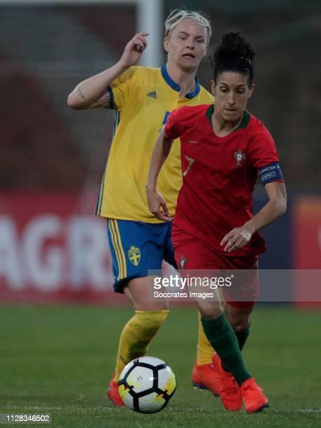 Nilla Fischer of Sweden Women Claudia Neto of Portugal Women during the Algarve Cup Women match between Portugal v Sweden at the Estadio Municipal de...