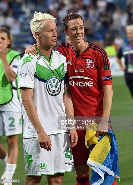 Nilla Fischer of VfL Wolfsburg and Lotta Schelin of Olympique Lyonnais after UEFA Women's Champions League Final between VfL Wolfsburg v Olympique...