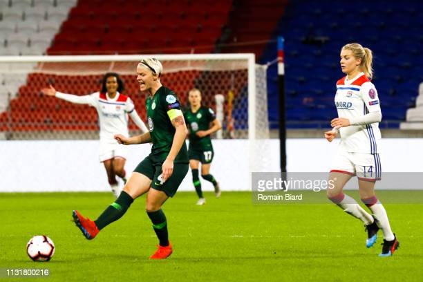 Nilla Fischer of Wolfsburg and Hegerberg Ada of Lyon during the Women's Champions League match between Lyon and Wolfsburg on March 20 2019 in Lyon...