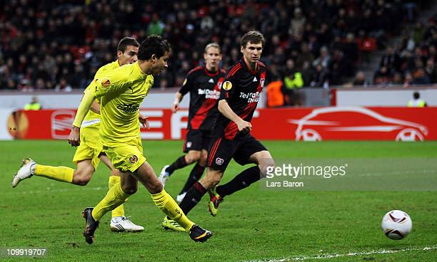 Nilmar of Villarreal scores his teams second goal during the UEFA Europa League round of 16 first leg match between Bayer Leverkusen and Villarreal...