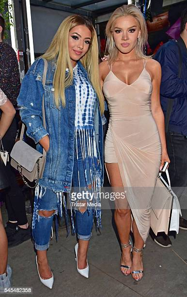 Niloofar Irani and Shirin David attend the URBAN DECAY Vice Lipstick Launch at Prince Charles Club on July 7 2016 in Berlin Germany
