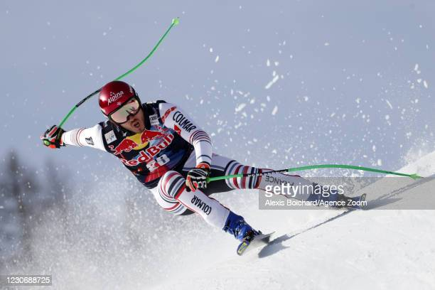 Nils Allegre of France competes during the Audi FIS Alpine Ski World Cup Men's Downhill Training on January 20 - January 21, 2021 in Kitzbuehel...