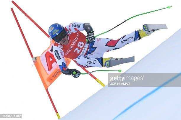 Nils Allegre of France competes in the men's Super G event of the FIS Alpine Ski World Cup in Kitzbuehel, Austria, on January 27, 2019.
