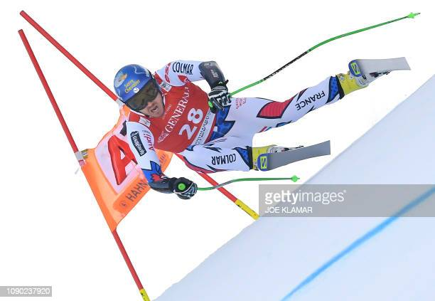 Nils Allegre of France competes in the men's superg event of the FIS Alpine Ski World Cup in Kitzbuehel Austria on January 27 2019