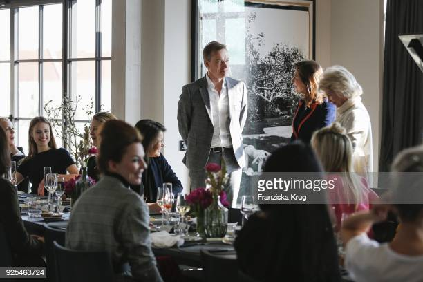 Nils Behrens Alexandra von Rehlingen and Elke BenedettoReisch during the Lanserhof Ladies Lunch at Loft am Mauerpark on February 28 2018 in Berlin...