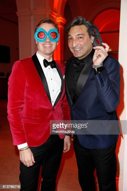 Nils Behrens and Mousse T during the Bal du Masque at Museum fuer Kunst und Gewerbe on February 3 2018 in Hamburg Germany