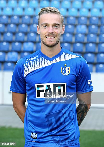 Nils Butzen poses during the team presentation of 1 FC Magdeburg at MDCCArena on July 7 2016 in Magdeburg Germany Nils Butzen