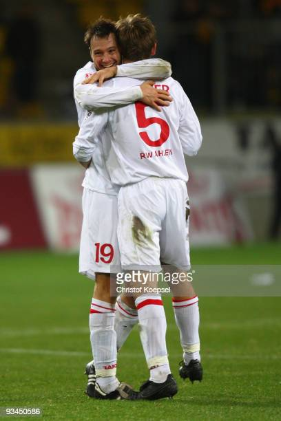 Nils Doering and Ole Kittner of Ahlen celebrate the 20 victory after the second Bundesliga match between Alemannia Aachen and Rot Weiss Ahlen at the...