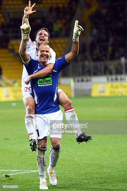 Nils Doering and Sascha Kirschstein of Ahlen celebrate the 20 victory after the second Bundesliga match between Alemannia Aachen and Rot Weiss Ahlen...