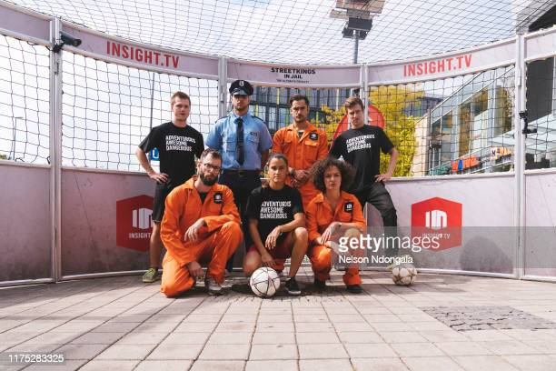 """Nils Effinghausen , Pascal Beausencourt and guests pose for picture during the launch event for Insight TV's new show """"Streetkings in Jail"""" on..."""
