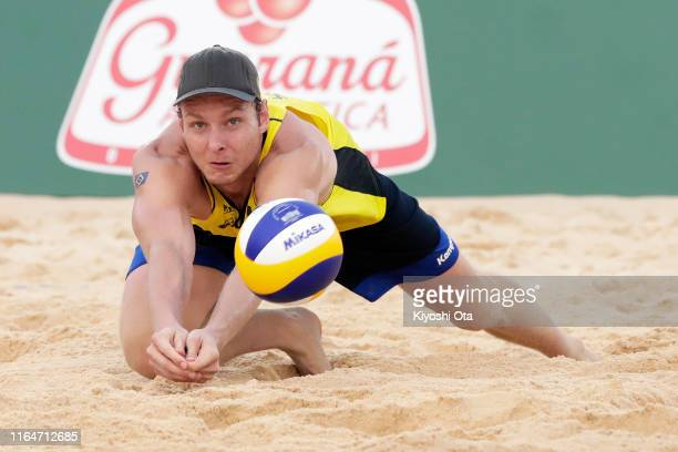 Nils Ehlers of Germany competes in the Men's gold medal match between Anders Berntsen Mol and Christian Sandlie Sorum of Norway and Nils Ehlers and...