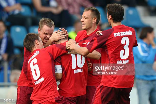 Nils Fischer Arne Feick Oliver Neuville Manuel Boelstler and Markus Bollmann of Bielefeld celebrate their teams first goal during the Second...