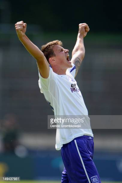 Nils Fischer of Osnabrueck celebrates after the 3 Liga match between 1 FC Saarbruecken and VfL Osnabrueck at Ludwigspark Stadion on July 28 2012 in...