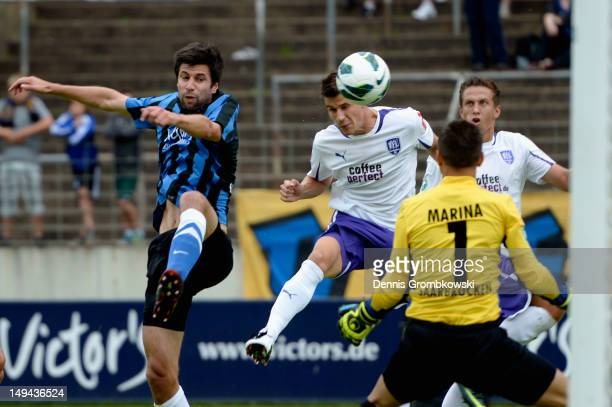 Nils Fischer of Osnabrueck misses a chance at goal during the 3 Liga match between 1 FC Saarbruecken and VfL Osnabrueck at Ludwigspark Stadion on...