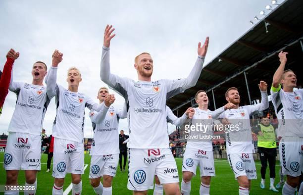 Nils Froling of Kalmar FF and teammates celebrate after the Allsvenskan match between Ostersunds FK and Kalmar FF at Jamtkraft Arena on September 14,...