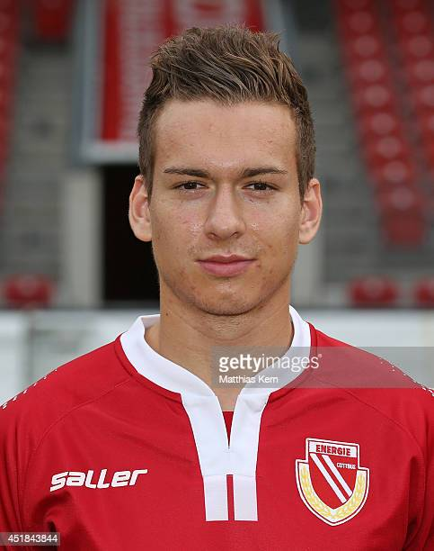 Nils Gottschick poses during the FC Energie Cottbus team presentation at Stadion der Freundschaft on July 8 2014 in Cottbus Germany