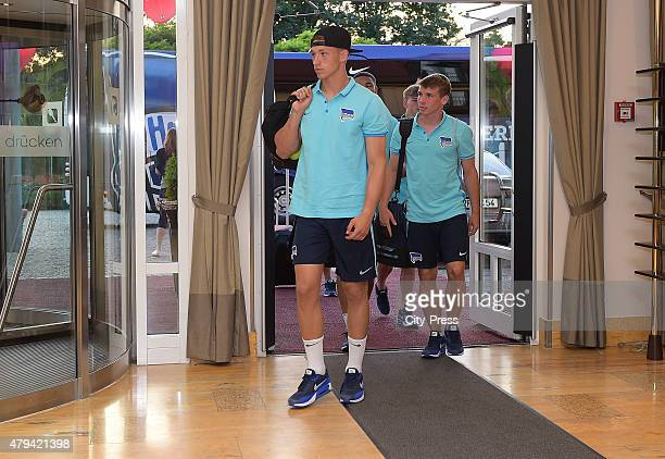 Nils Koerber arrives for the training camp of Hertha BSC on July 3 2015 in Bad Saarow Germany