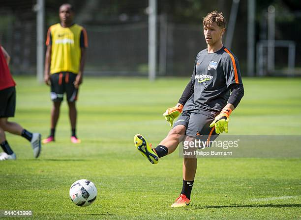 Nils Körber of Hertha BSC during the training session at Schenkendorfplatz on July 01 2016 in Berlin Germany