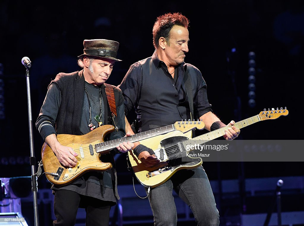 Nils Lofgren (L) and Bruce Springsteen perform at Madison Square Garden on January 27, 2016 in New York City.