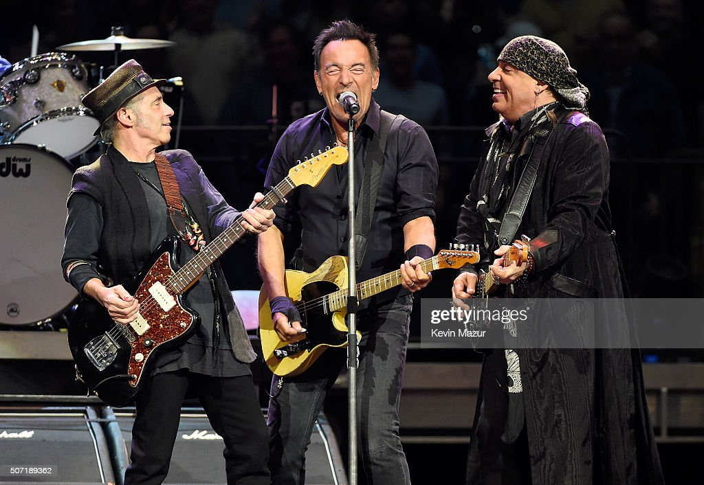 Nils Lofgren, Bruce Springsteen and Steven Van Zandt perform at Madison Square Garden on January 27, 2016 in New York City.