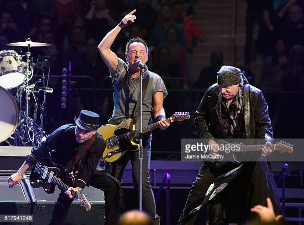 Nils Lofgren Bruce Springsteen and Stevie Van Zandt perform onstage at Madison Square Garden on March 28 2016 in New York City