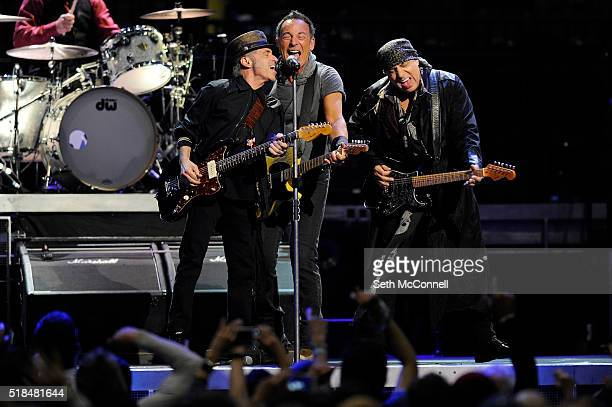 Nils Lofgren left Bruce Springsteen and Steven Van Zandt of Bruce Springsteen and the E Street Band perform at the Pepsi Center in Denver Colorado on...