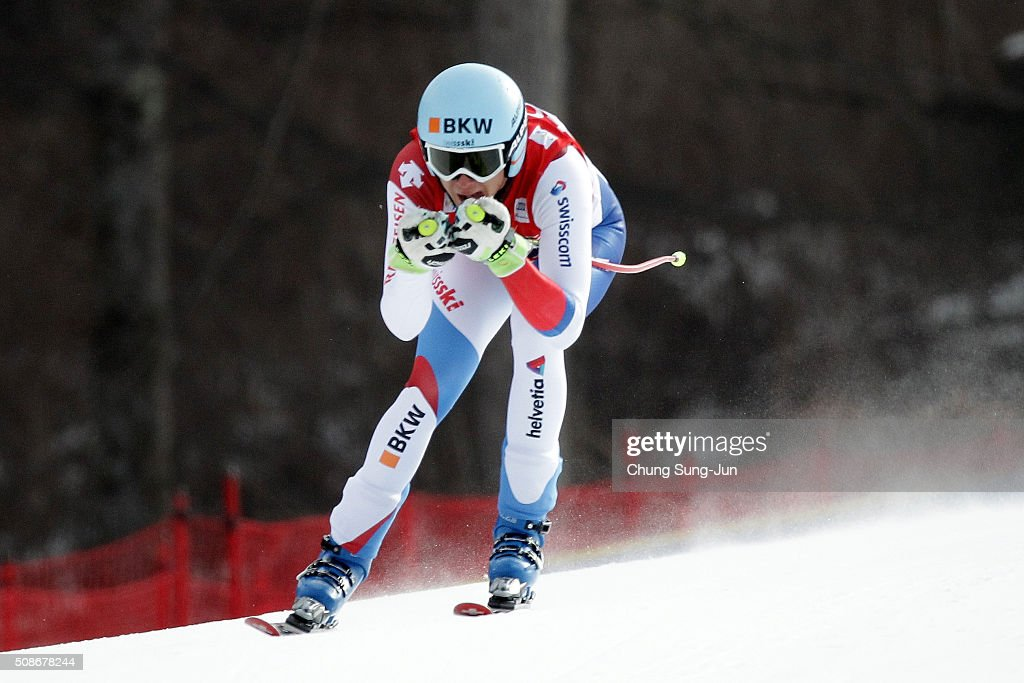 Nils Mani of Swiss competes in the Men's Downhill Finals during the 2016 Audi FIS Ski World Cup at the Jeongseon Alpine Centre on February 6, 2016 in Jeongseon-gun, South Korea.