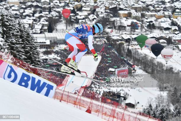 Nils Mani of Switzerland competes in the men's downhill event at the FIS Alpine World Cup in Kitzbuehel Austria on January 20 2018 / AFP PHOTO / JOE...