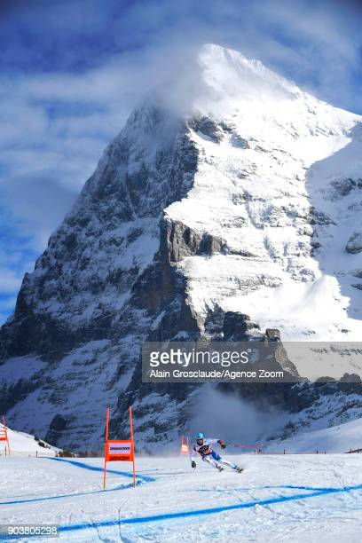 Nils Mani of Switzerland in action during the Audi FIS Alpine Ski World Cup Men's Downhill Training on January 11 2018 in Wengen Switzerland