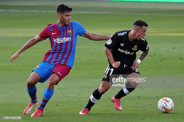 Nils Mortimer and Pedro during the friendly match between FC Barcelona and Club Gimnastic de Tarragona, played at the Johan Cruyff Stadium on 21th...