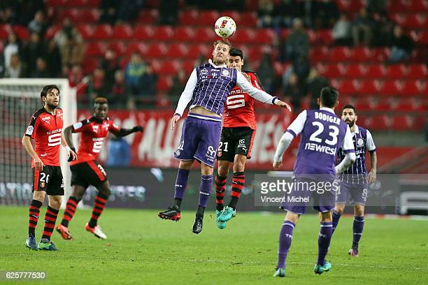Nils Ola Toivonen of Toulouse during the French Ligue 1 match between Rennes and Toulouse at Roazhon Park on November 25, 2016 in Rennes, France.
