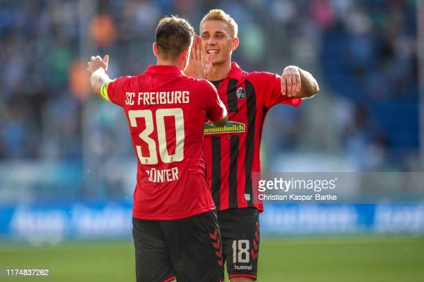 Nils Petersen and Christian Guenter of Sport-Club Freiburg celebrate after the Bundesliga match between TSG 1899 Hoffenheim and Sport-Club Freiburg...