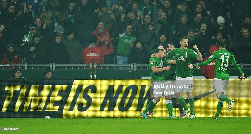 Nils Petersen of Bremen celebrates scoring the second goal during the Bundesliga match between SV Werder Bremen and Hannover 96 at Weser Stadium on February 1, 2013 in Bremen, Germany.