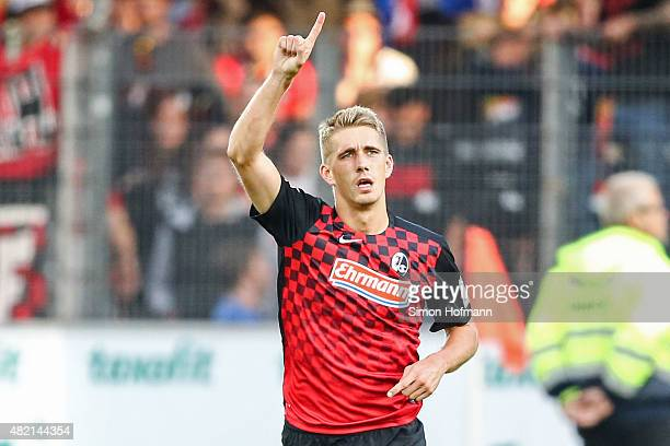 Nils Petersen of Freiburg celebrates his team's third goal during the 2 Bundesliga match between SC Freiburg and 1 FC Nuernberg at SchwarzwaldStadion...